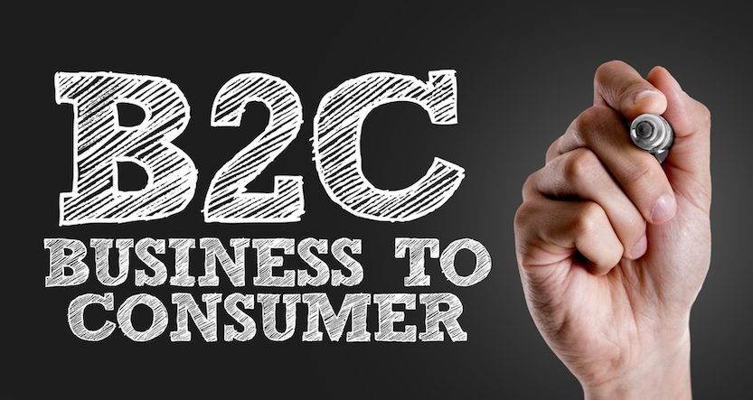 "An image with a hand having written ""B2C Business To Consumer"" on it."