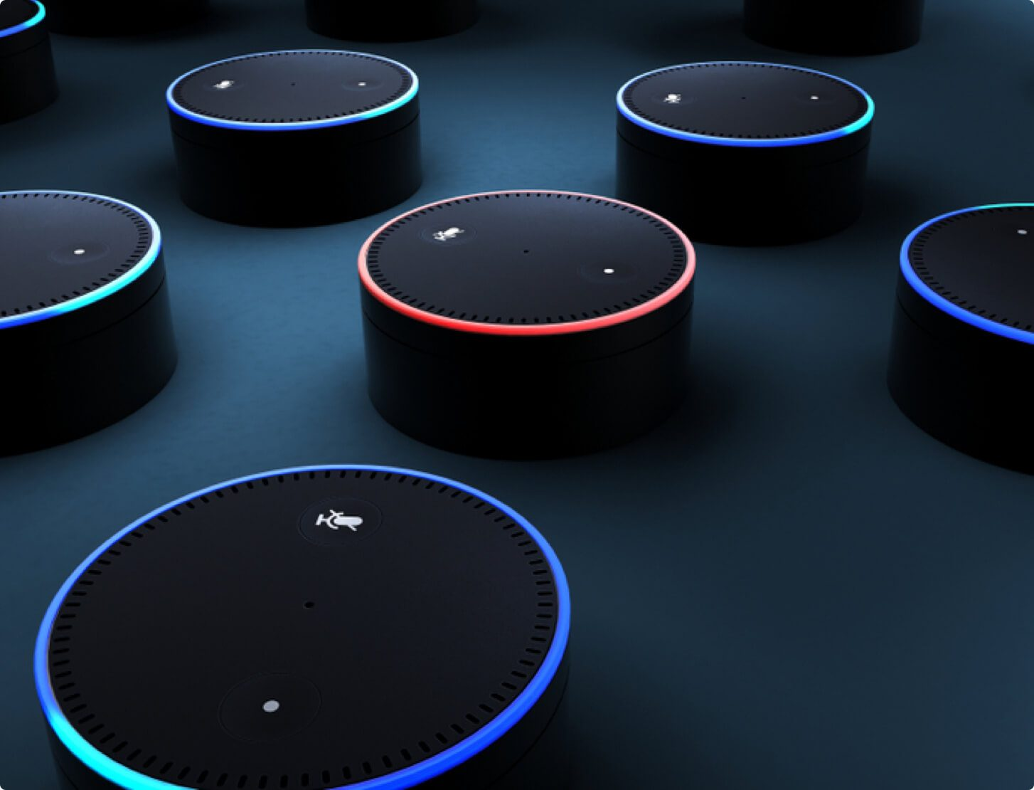 A group of Echo Dots smart speakers
