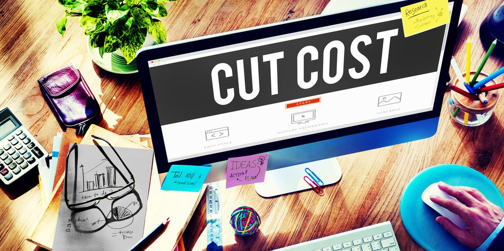 "Computer screen displaying the words ""Cut Cost"""
