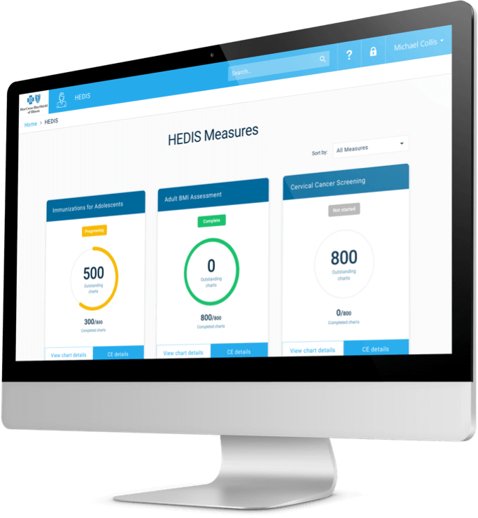 The new performance dashboard of Blue Cross Blue Shield of Illinois shown on a desktop