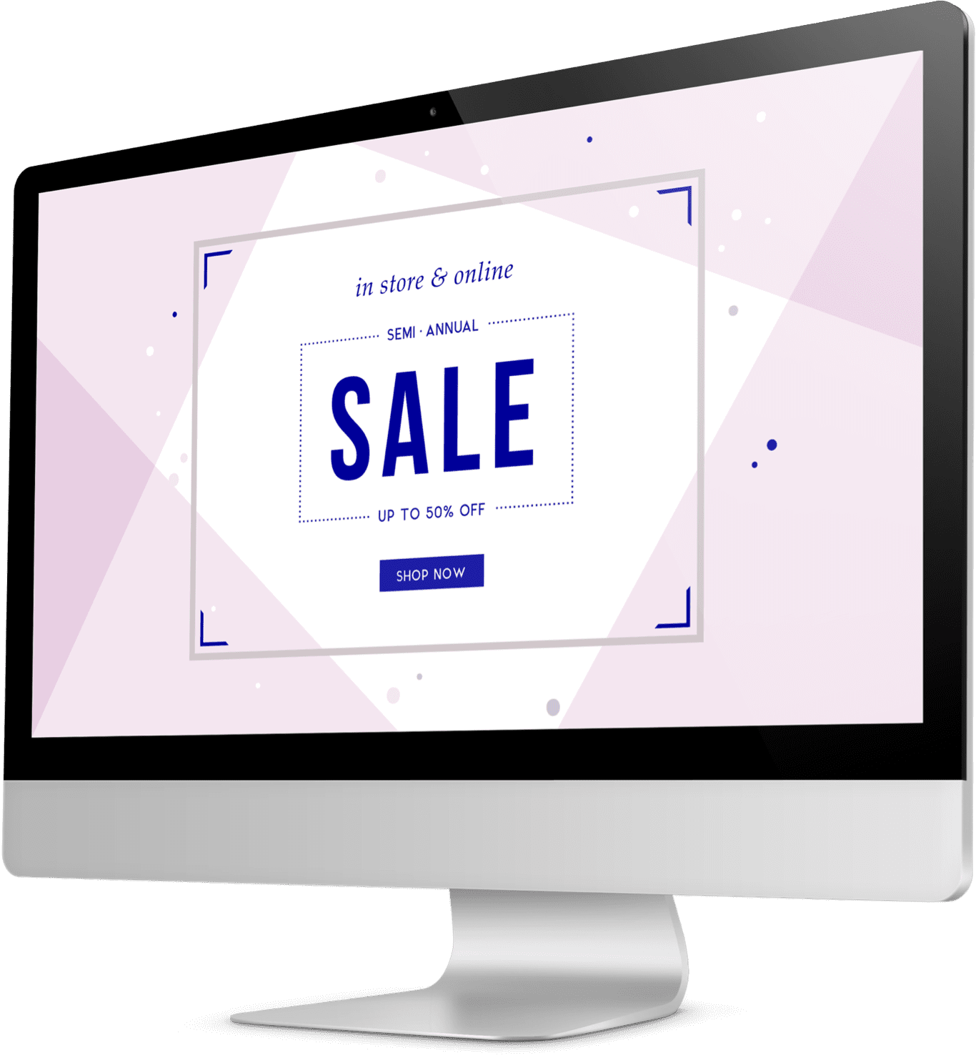Semi-annual sales announcement on an apparel company's website shown on a monitor