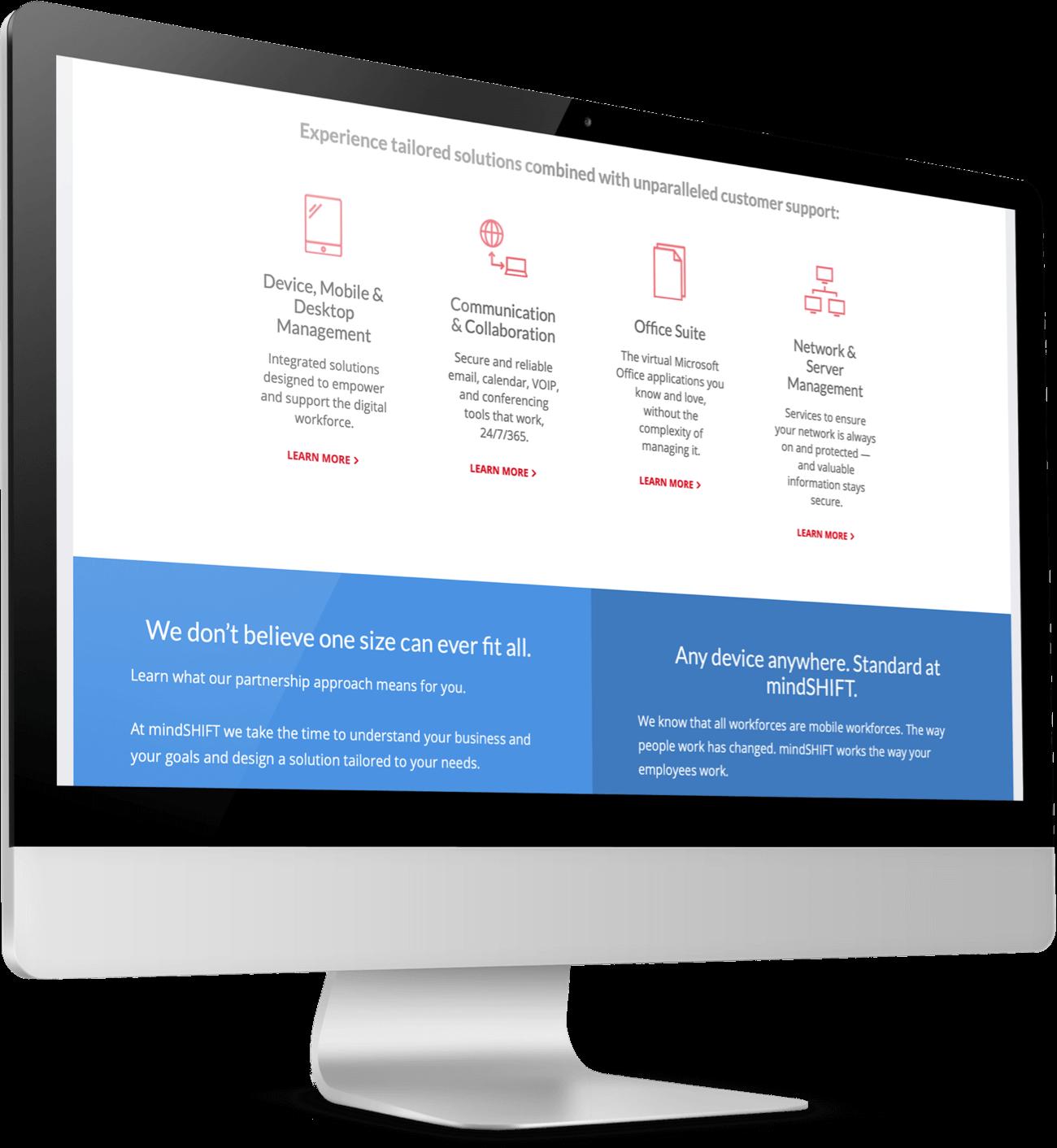 mindSHIFT's analytics platform shown on desktop