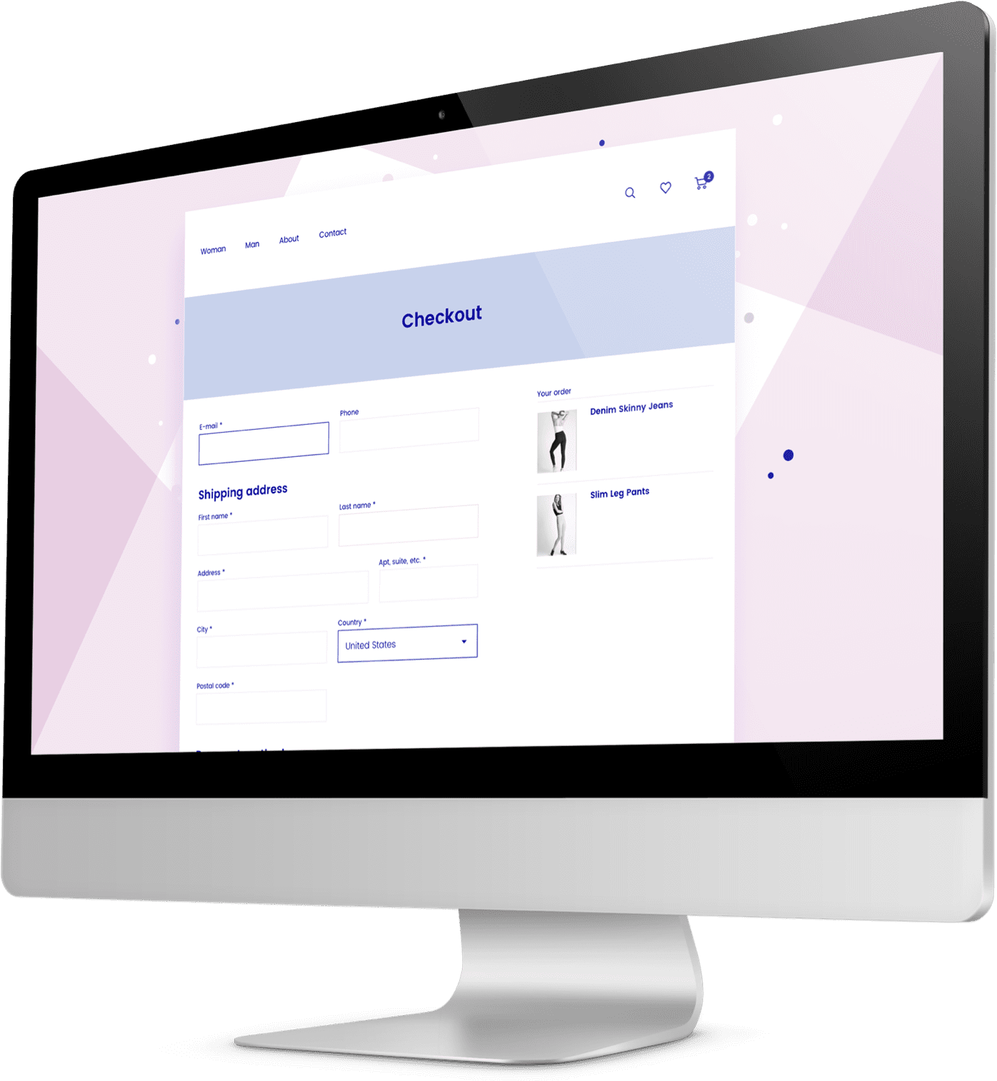 Checkout forms on apparel company's website shown on a monitor