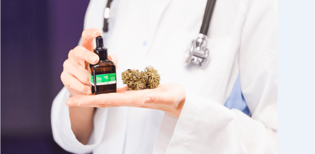 A doctor holding medical supplies for CBD marketing