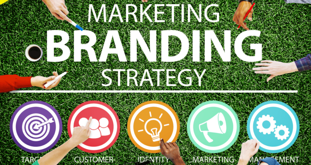 "People pointing at the words ""Marketing Branding Strategy"" with icons displaying parts of the plan."