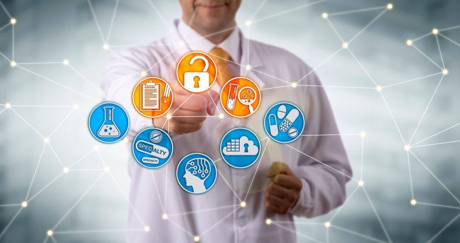 Doctor pointing at a interconnected web of healthcare icons