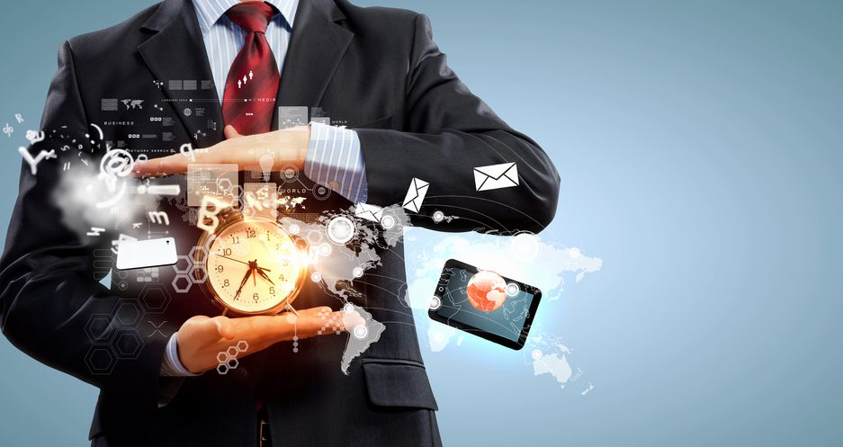 Business man holding a clock, surrounded by email symbols