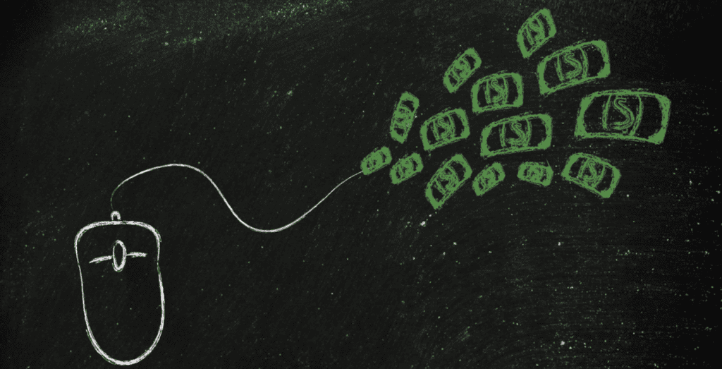 Chalk drawing of a computer mouse attached to money.