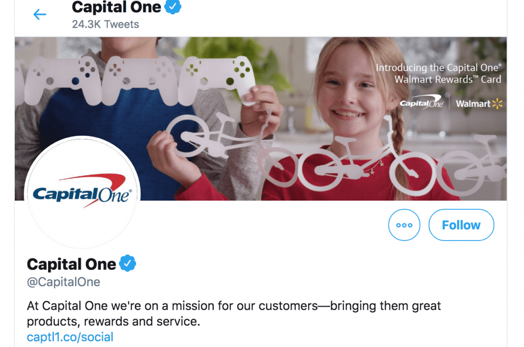 Screenshot of Capital One's Twitter account