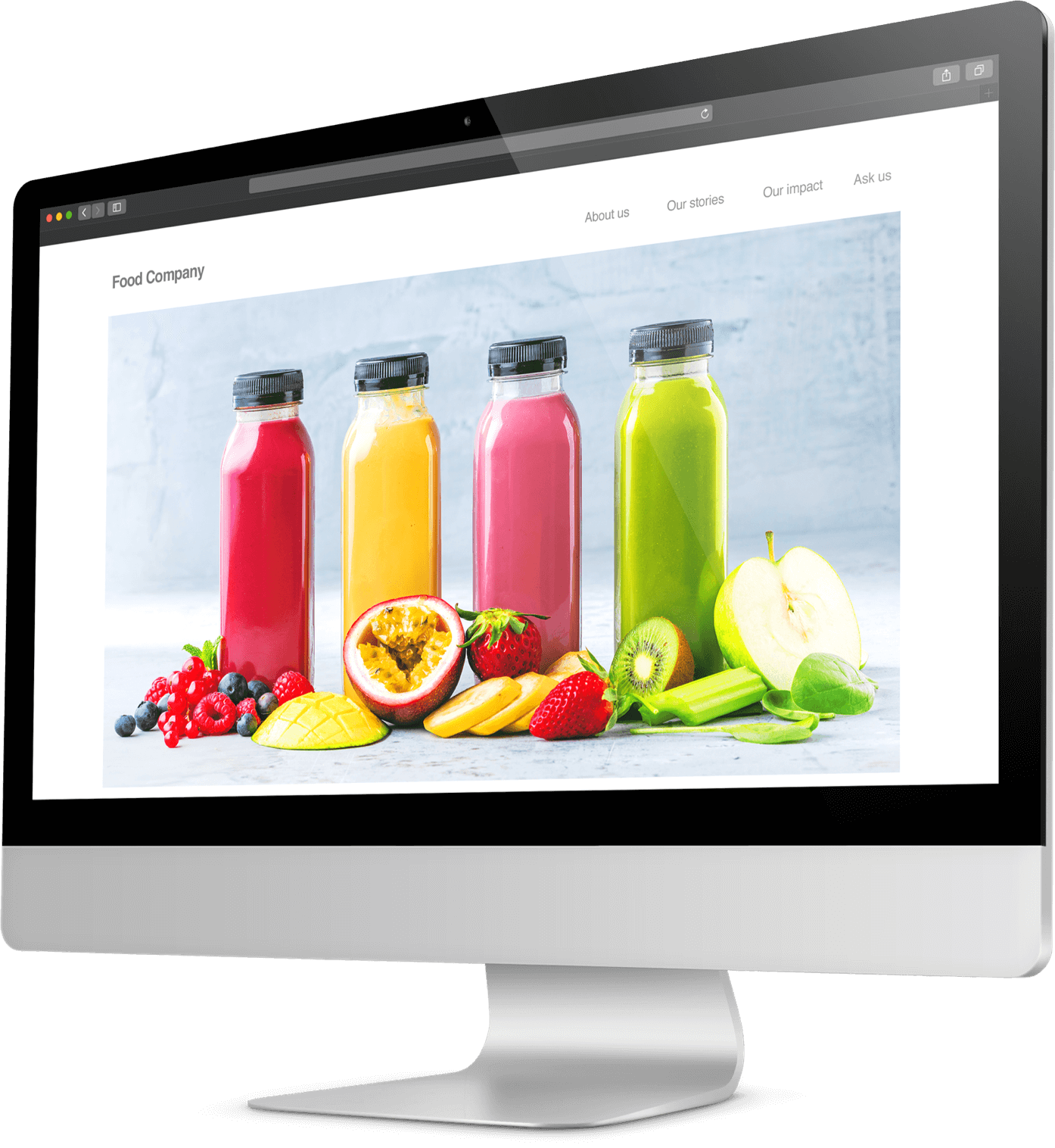 Photo of colorful juice bottles shown on a desktop