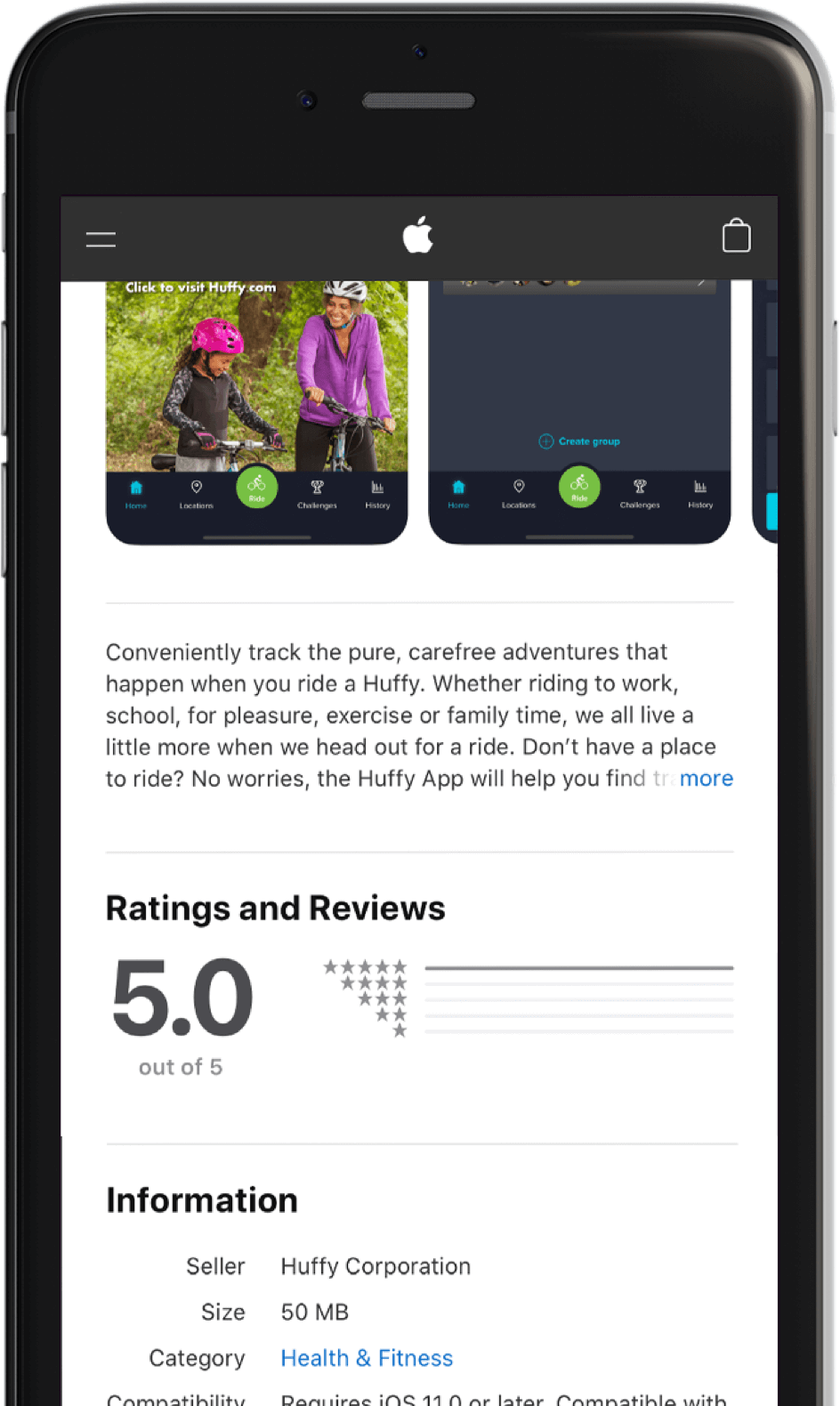 Huffy app gets 5-star review on Apple Store