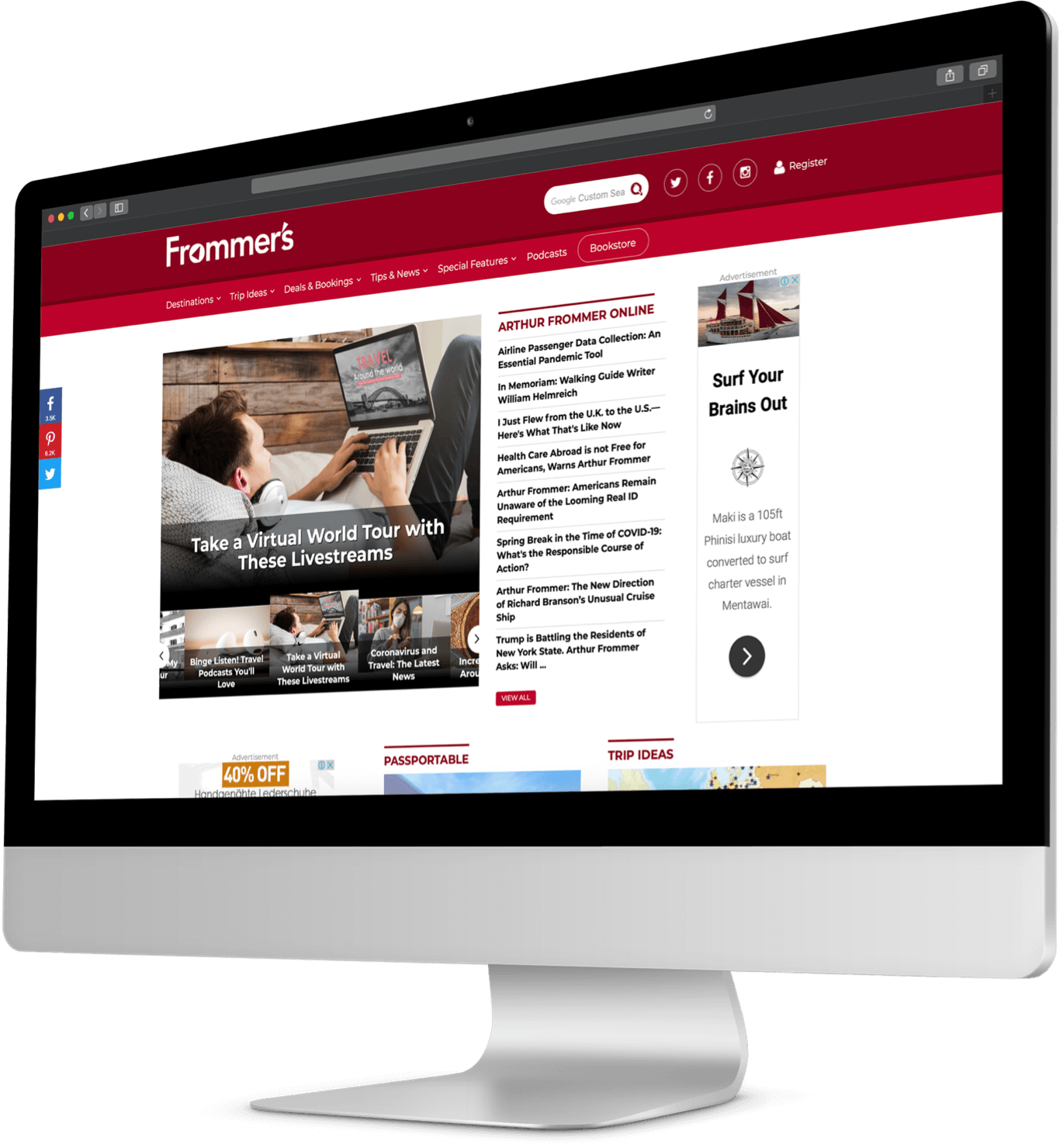Frommer's website on monitor