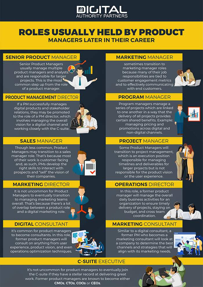 infographic showing a variety of roles held by product managers as they progress through their career