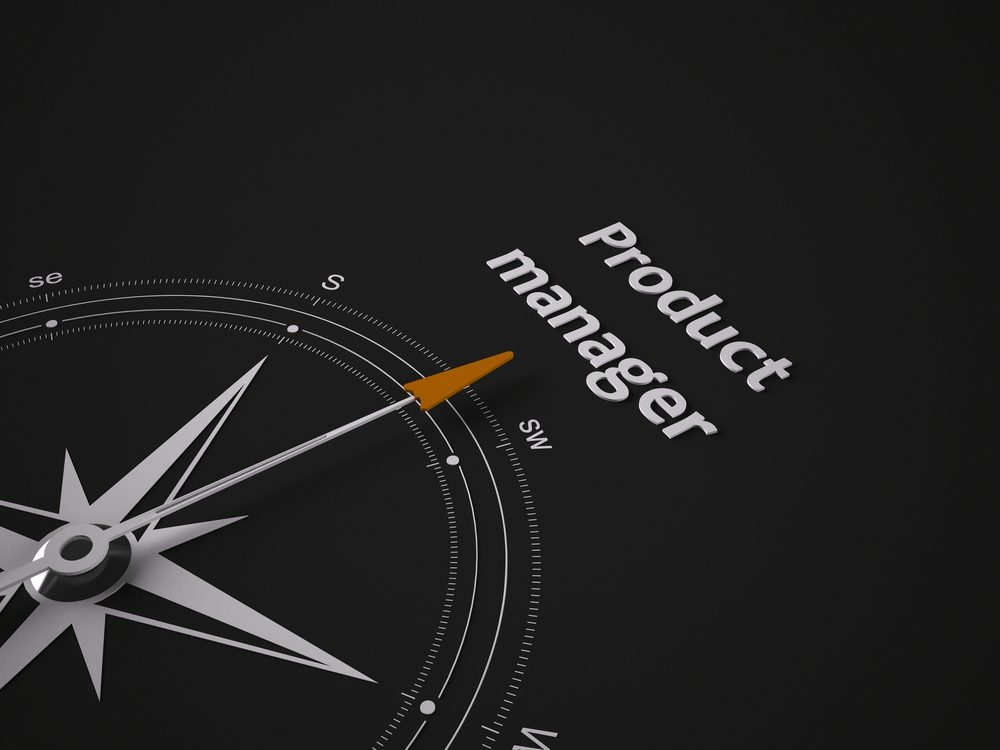 Conceptual 3D render image with a frameless Compass focus on the words product managerThe position of product manager