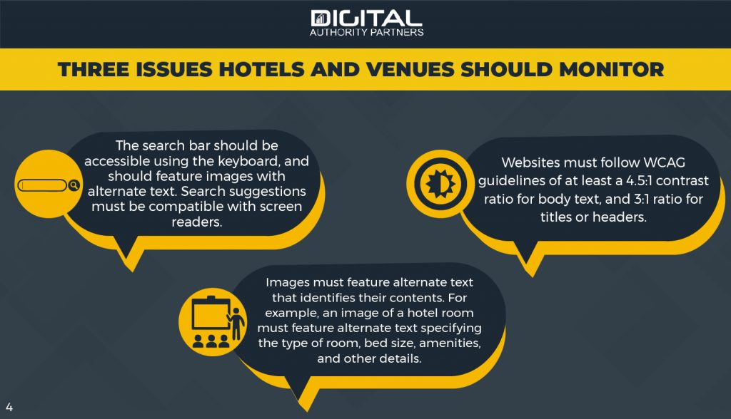 Three issues hotels and venues should monitor: search bars, alt text, and contrast ratios.