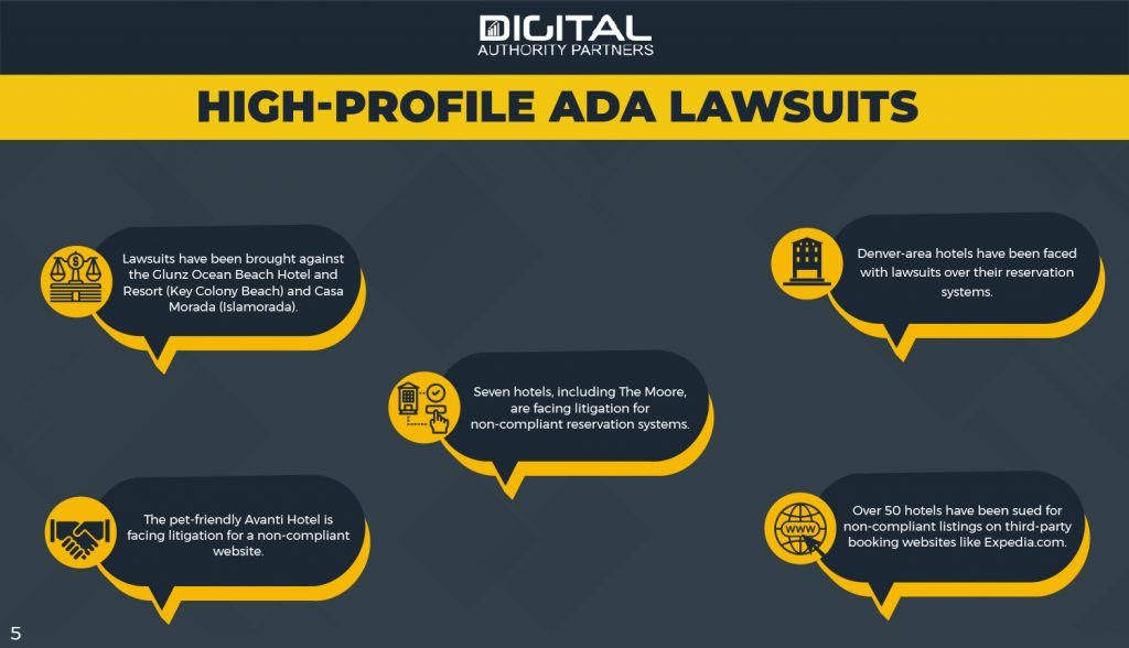 Infographic: High profile ADA lawsuits: a number of hotels around the country have been sued for non-compliant websites.